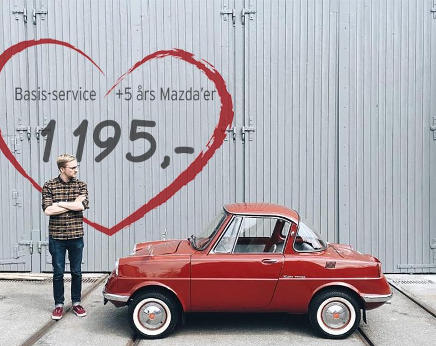 Vi elsker ældre Mazda'er og laver et basisservice til 1.195.- kr.