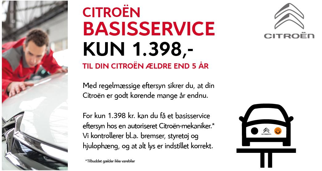 Få et autoriseret Citroën basisservice for 1.398 kr.