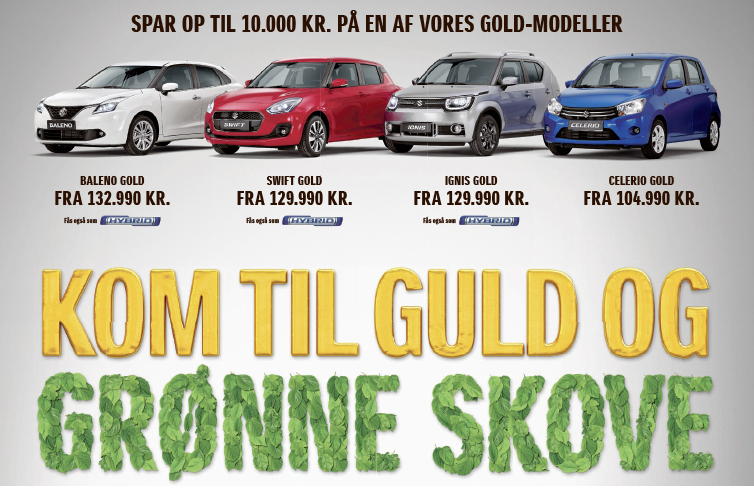Spar 10.000 kr. på en ny Suzuki Gold model