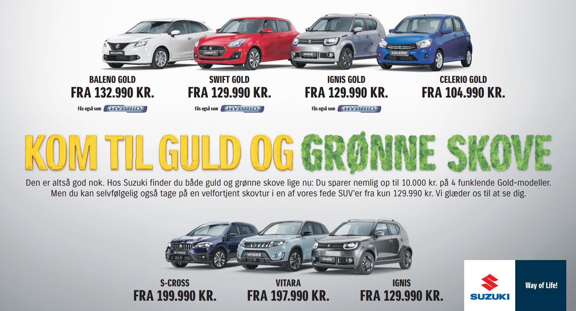 Kom til guld og grønne skove og spar 10.000 kr. på udvalgte Suzuki modeller