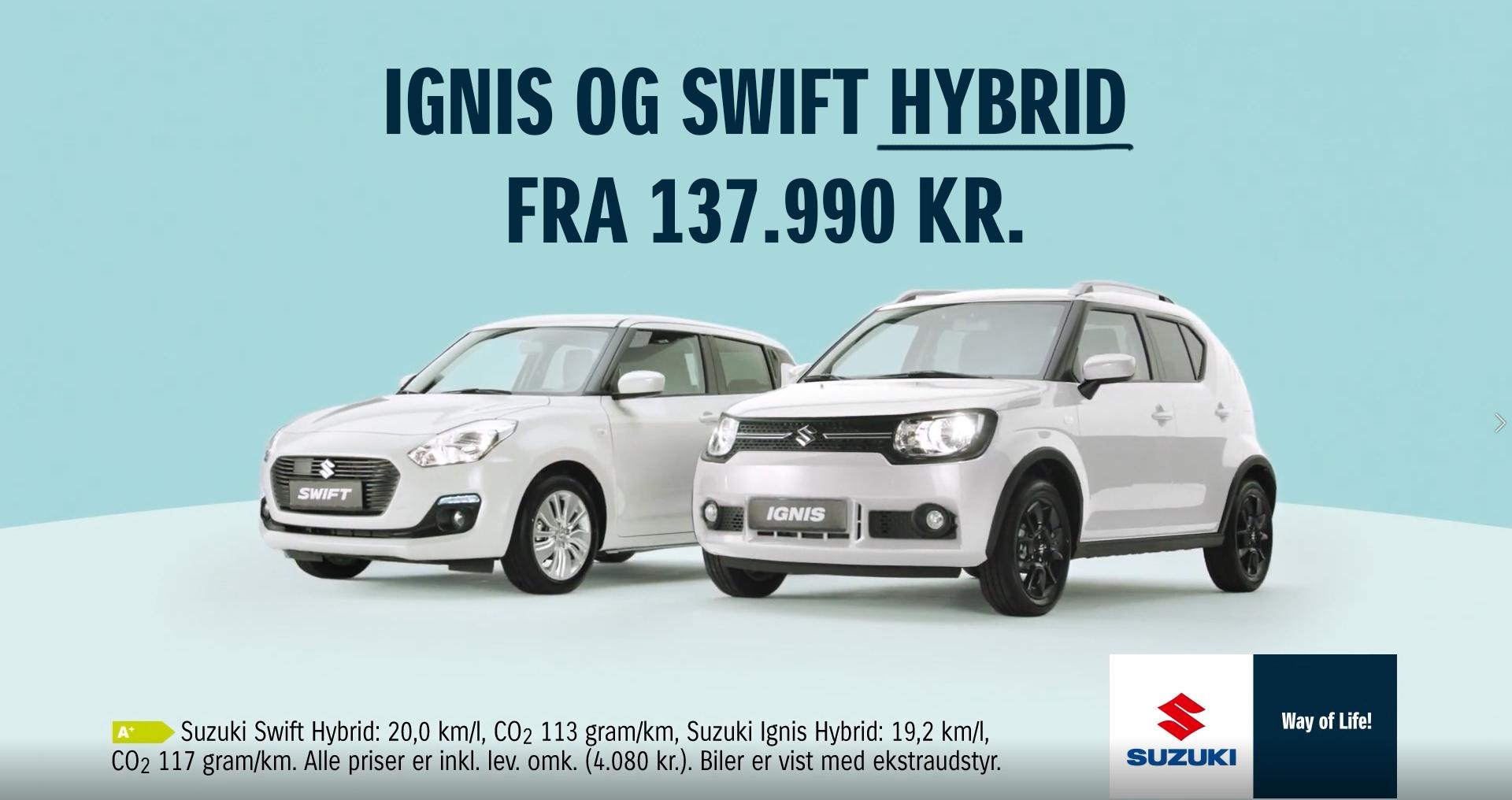 Nu er hybridteknik standard i Suzuki Ignis og Swift - prøv den hos os