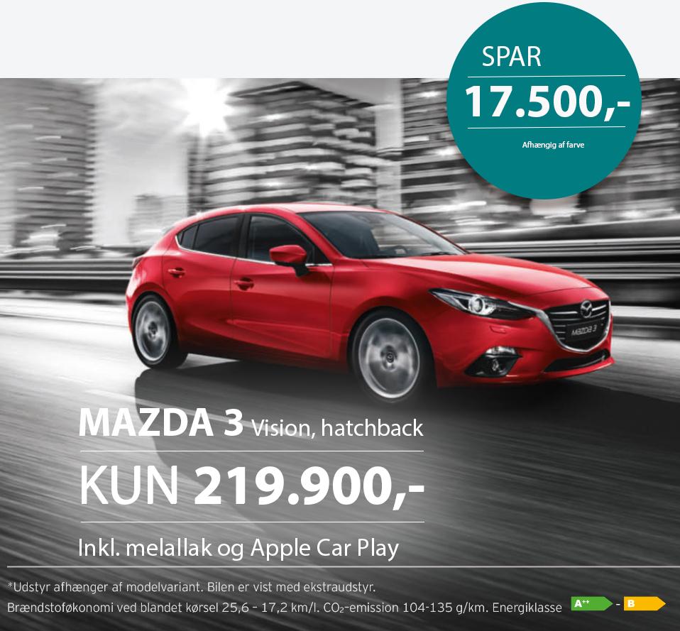 SPAR 17.500 kr. på en ny Mazda3 Vision h/b