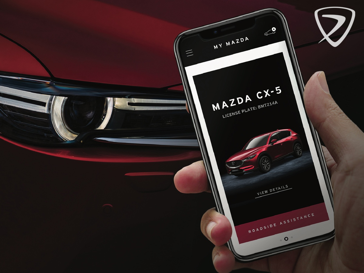 Se din Mazdas servicehistorik, få vejledninger og vejhlælp med MyMazda app'en