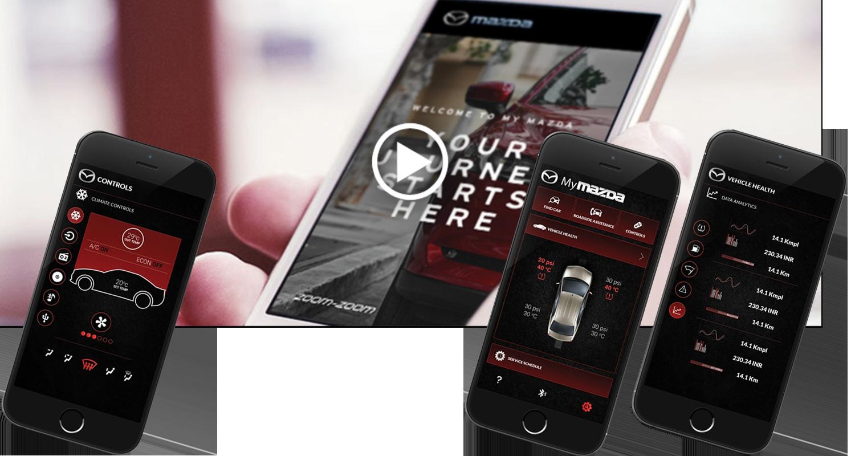 Med MyMazda App'en får du bl.a overblik over sin Mazda service, vejledninger om.m.