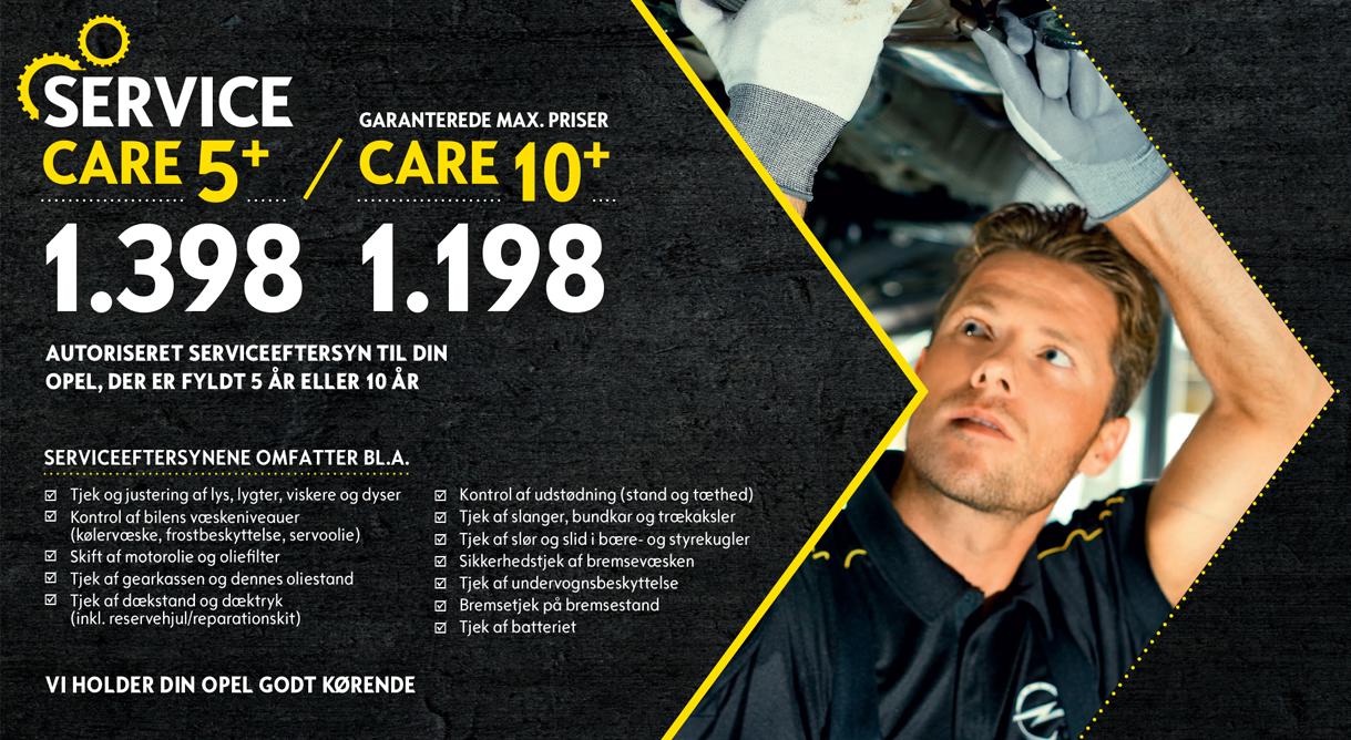 Få et autoriseret Opel Service Care fra 1.198 kr.