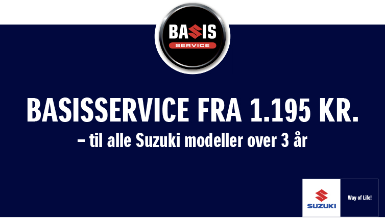 Få et autoriseret Suzuki Basis Service for 1.195 kr.