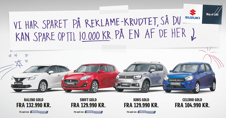 Suzuki sparer på reklamekrudtet så du kan spare op til 10.000 kr.
