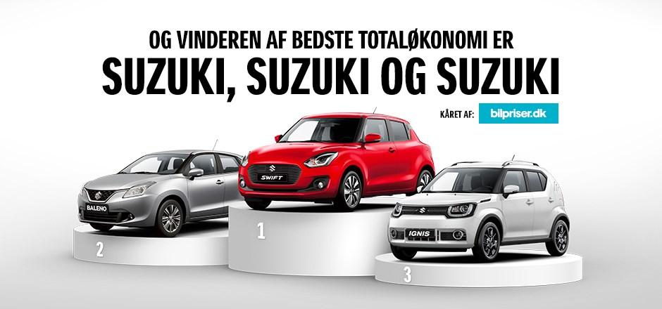 Suzuki vinder suverænt i totaløkonomi i.flg. Bilpriser.dk